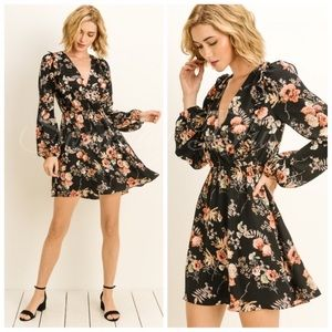 Just in! Black Floral Long Sleeve Dress